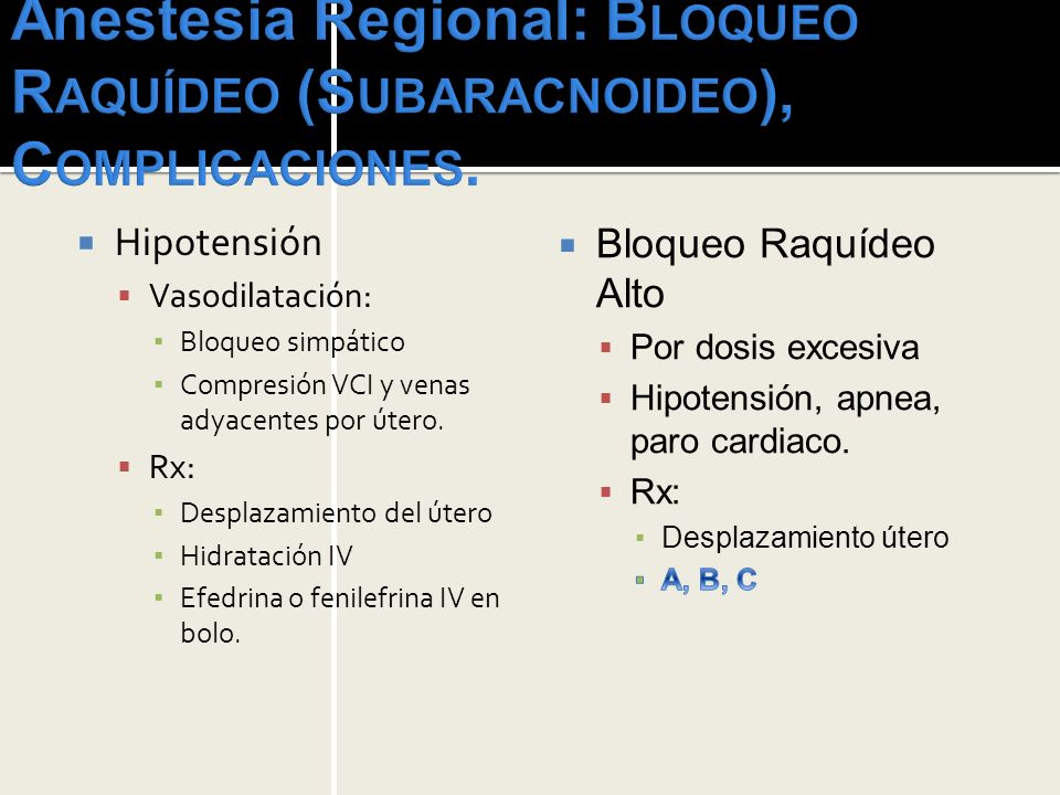 Anestesia Regional: Bloqueo Raquídeo (Subaracnoideo), Complicaciones.