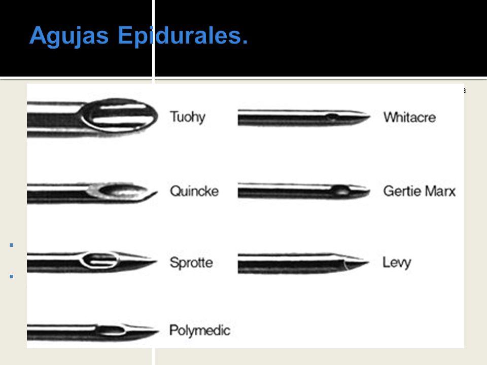 Agujas Epidurales. Disponibles en longitud de 8 a 15 cm.