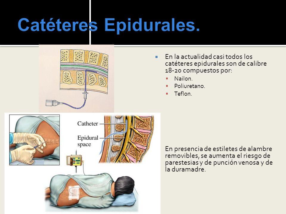 Catéteres Epidurales.En la actualidad casi todos los catéteres epidurales son de calibre 18-20 compuestos por: