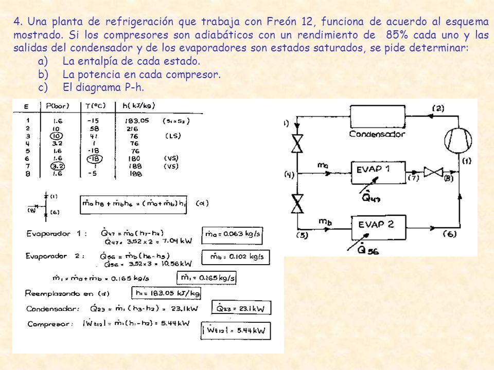 4. Una planta de refrigeración que trabaja con Freón 12, funciona de acuerdo al esquema mostrado. Si los compresores son adiabáticos con un rendimiento de 85% cada uno y las salidas del condensador y de los evaporadores son estados saturados, se pide determinar: