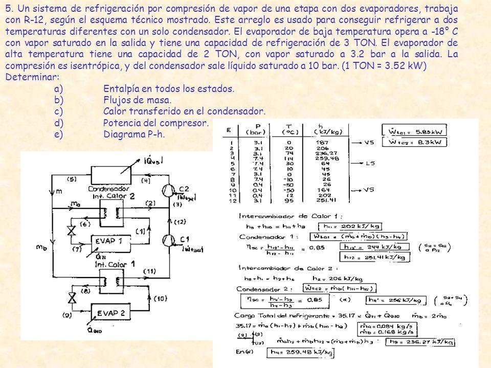 5. Un sistema de refrigeración por compresión de vapor de una etapa con dos evaporadores, trabaja con R-12, según el esquema técnico mostrado. Este arreglo es usado para conseguir refrigerar a dos temperaturas diferentes con un solo condensador. El evaporador de baja temperatura opera a -18° C con vapor saturado en la salida y tiene una capacidad de refrigeración de 3 TON. El evaporador de alta temperatura tiene una capacidad de 2 TON, con vapor saturado a 3.2 bar a la salida. La compresión es isentrópica, y del condensador sale líquido saturado a 10 bar. (1 TON = 3.52 kW)