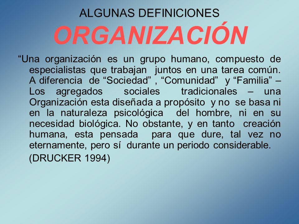 ALGUNAS DEFINICIONES ORGANIZACIÓN