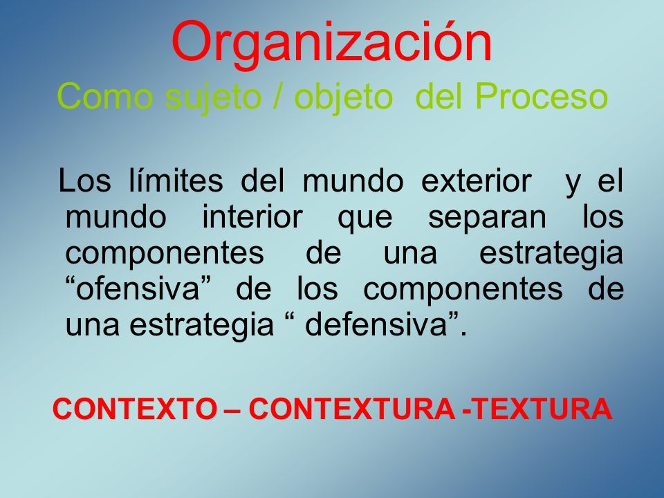 Organización Como sujeto / objeto del Proceso