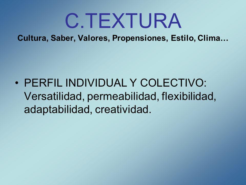 C.TEXTURA Cultura, Saber, Valores, Propensiones, Estilo, Clima…