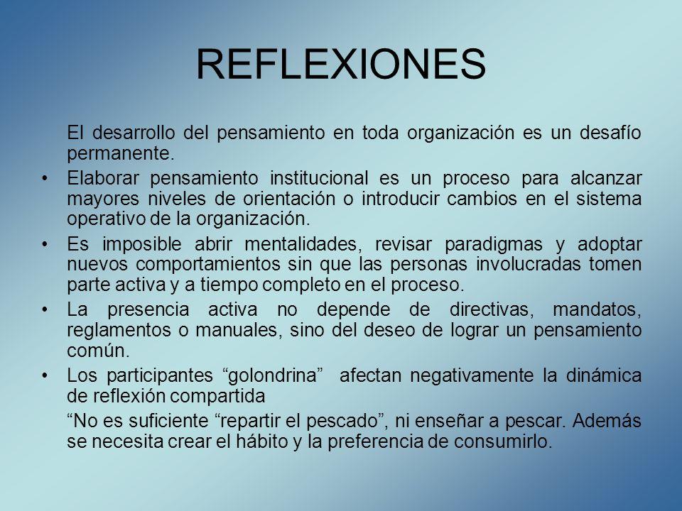 REFLEXIONES El desarrollo del pensamiento en toda organización es un desafío permanente.
