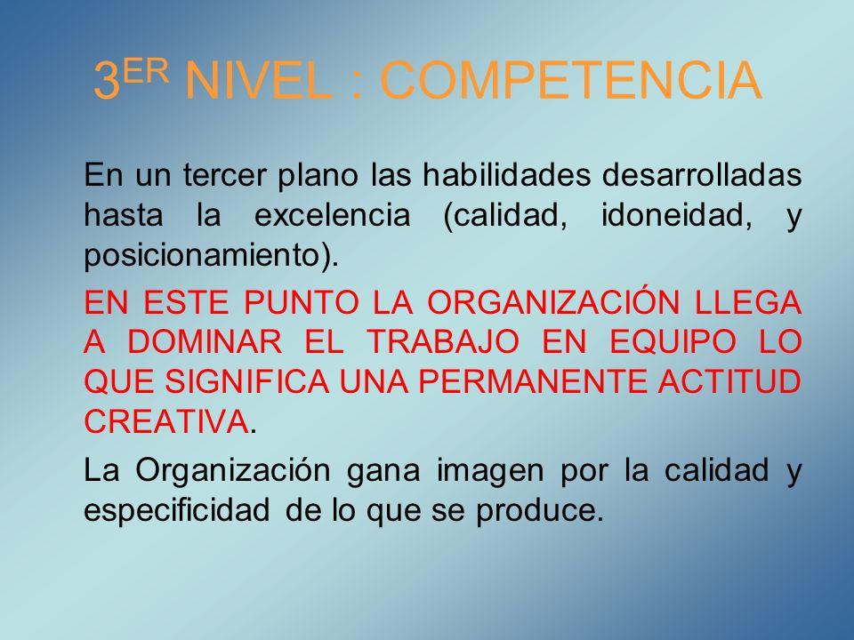 3ER NIVEL : COMPETENCIA En un tercer plano las habilidades desarrolladas hasta la excelencia (calidad, idoneidad, y posicionamiento).