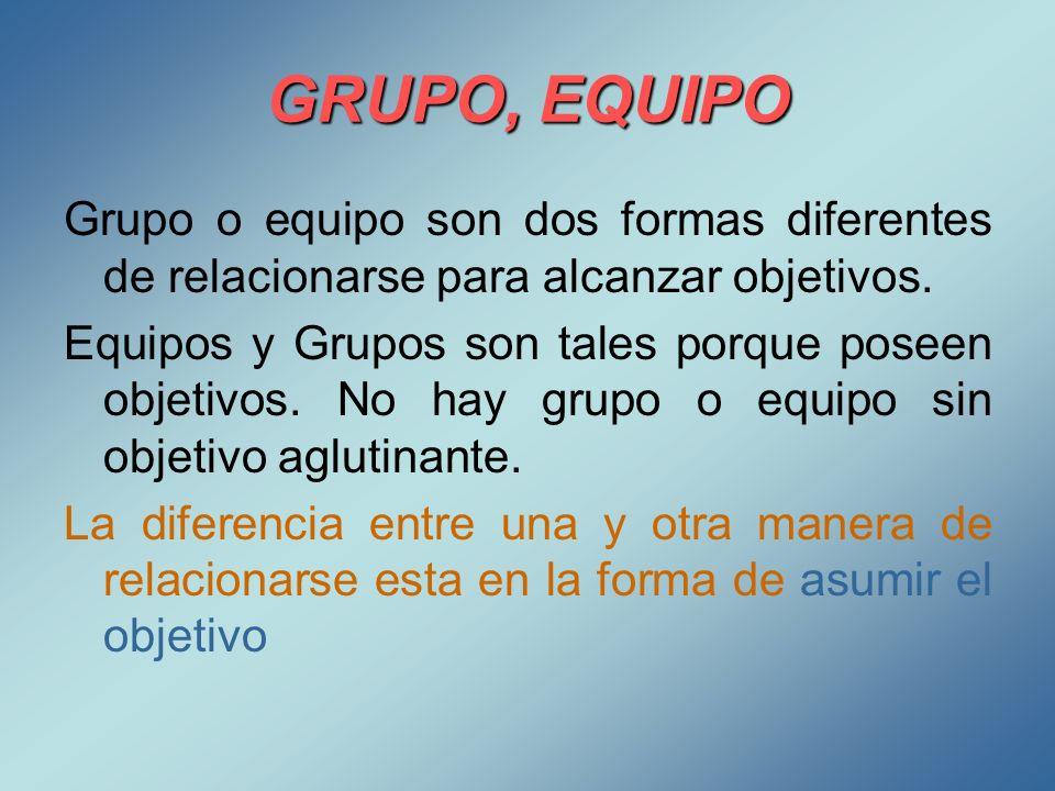 GRUPO, EQUIPOGrupo o equipo son dos formas diferentes de relacionarse para alcanzar objetivos.