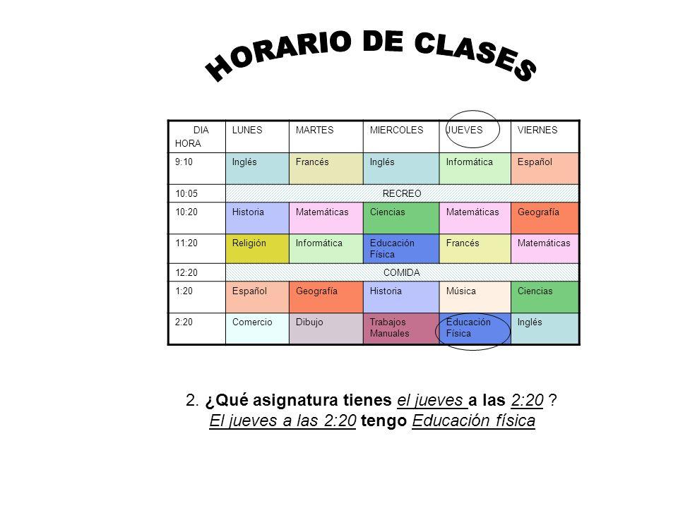 HORARIO DE CLASES 2. ¿Qué asignatura tienes el jueves a las 2:20