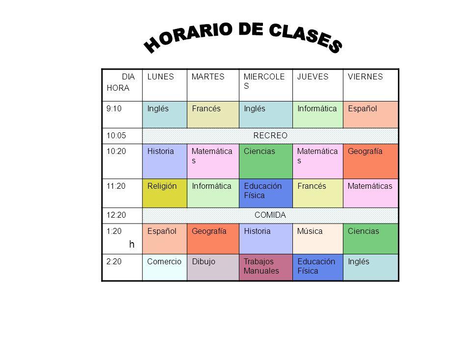 HORARIO DE CLASES h DIA HORA LUNES MARTES MIERCOLES JUEVES VIERNES