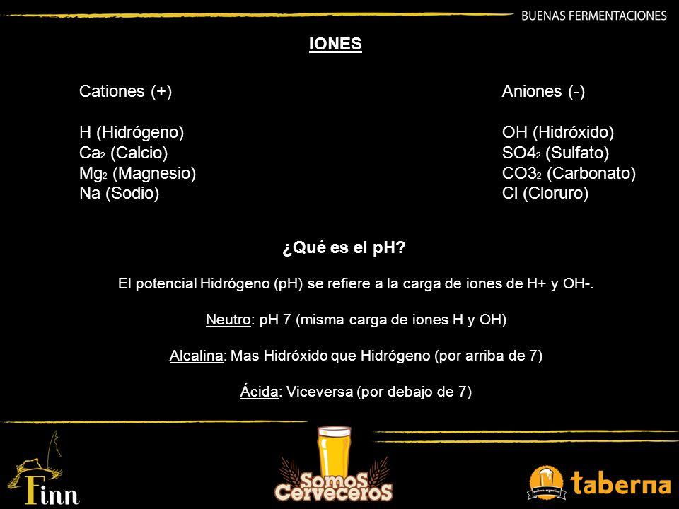 IONES Cationes (+) H (Hidrógeno) Ca2 (Calcio) Mg2 (Magnesio)