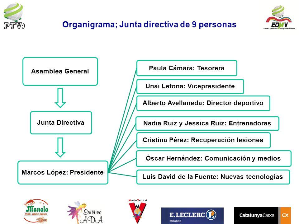 Organigrama; Junta directiva de 9 personas