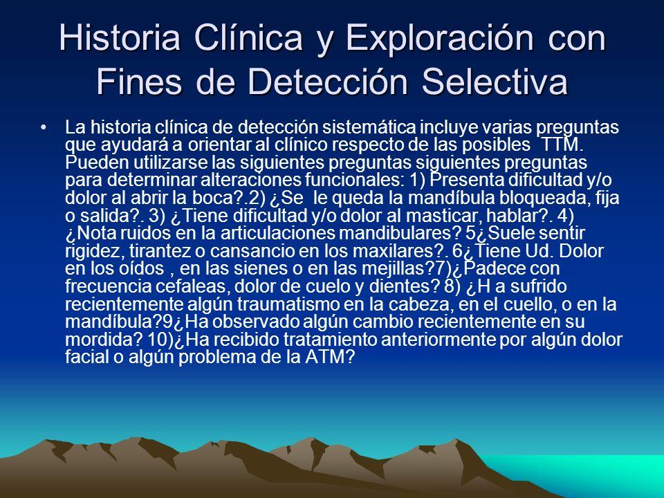 Historia Clínica y Exploración con Fines de Detección Selectiva