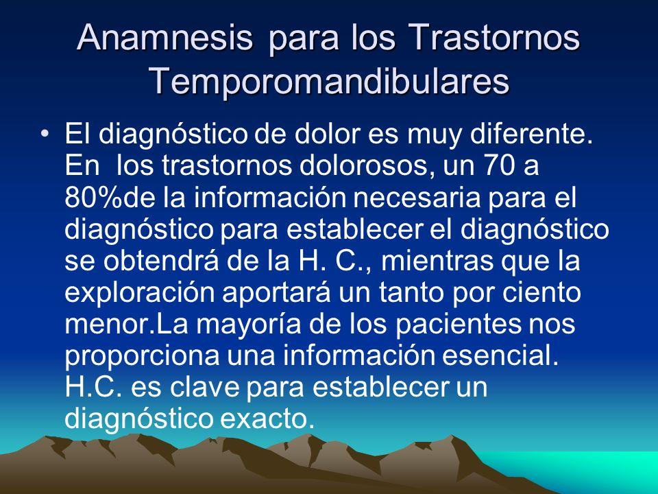 Anamnesis para los Trastornos Temporomandibulares
