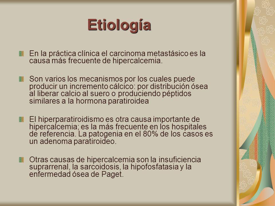 EtiologíaEn la práctica clínica el carcinoma metastásico es la causa más frecuente de hipercalcemia.