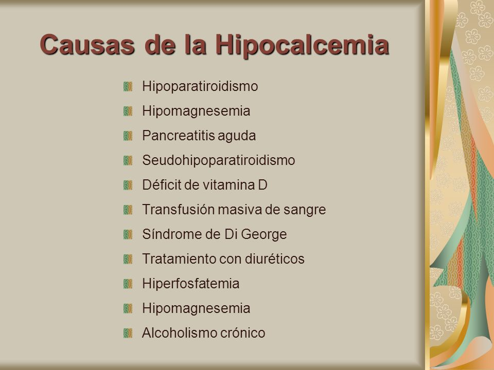 Causas de la Hipocalcemia