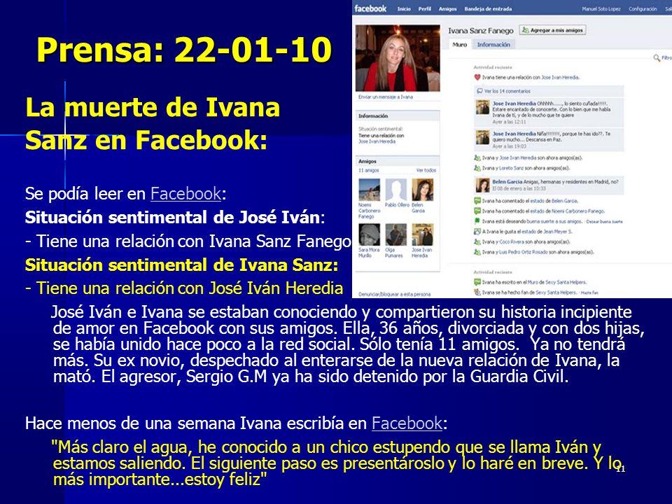 Prensa: 22-01-10 La muerte de Ivana Sanz en Facebook: