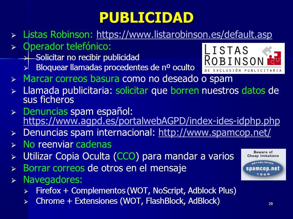 PUBLICIDAD Listas Robinson: https://www.listarobinson.es/default.asp