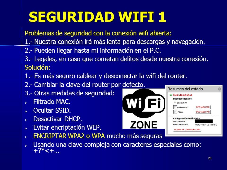 SEGURIDAD WIFI 1 Problemas de seguridad con la conexión wifi abierta: