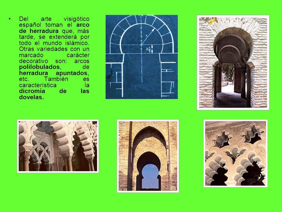 Del arte visigótico español toman el arco de herradura que, más tarde, se extenderá por todo el mundo islámico.