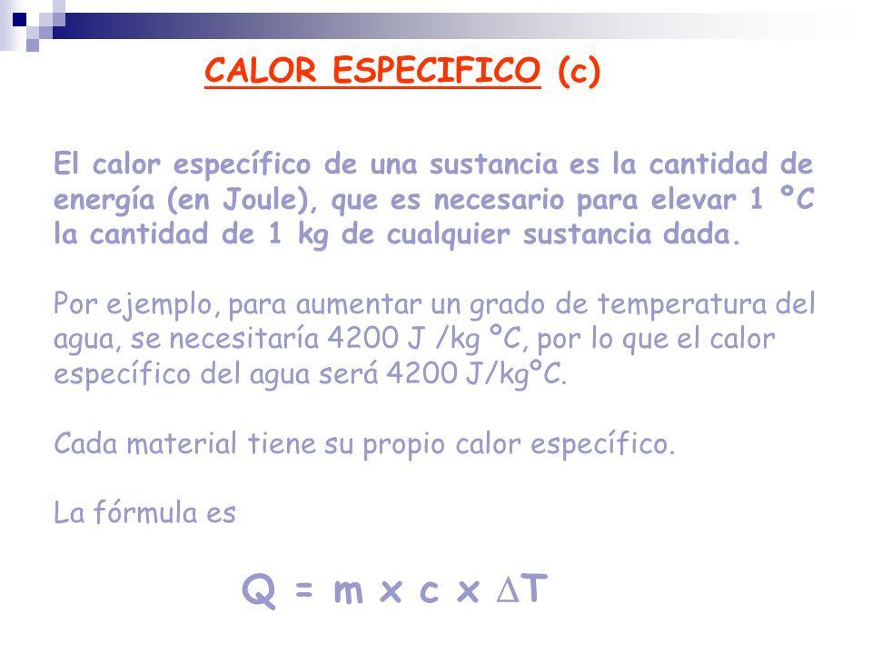 CALOR ESPECIFICO (c)