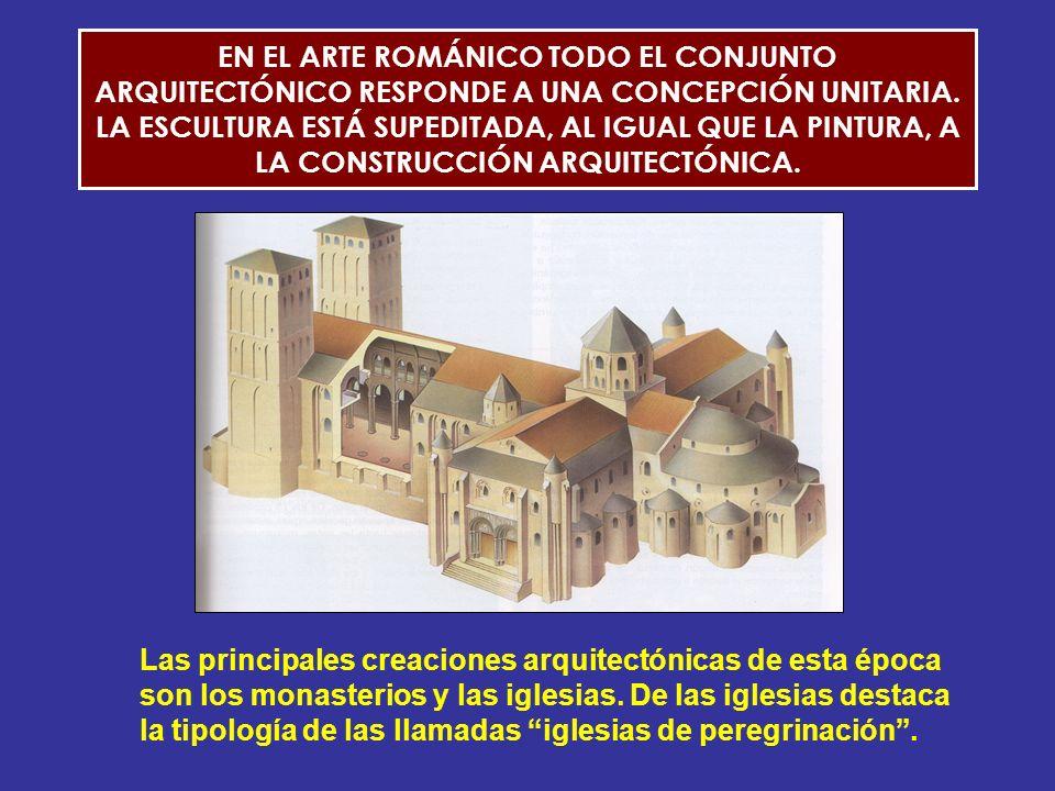 EN EL ARTE ROMÁNICO TODO EL CONJUNTO ARQUITECTÓNICO RESPONDE A UNA CONCEPCIÓN UNITARIA. LA ESCULTURA ESTÁ SUPEDITADA, AL IGUAL QUE LA PINTURA, A LA CONSTRUCCIÓN ARQUITECTÓNICA.