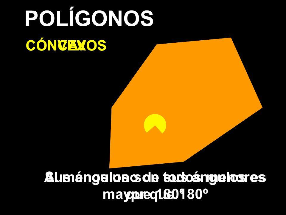 POLÍGONOS CONVEXOS CÓNCAVOS Sus ángulos son todos menores que 180º