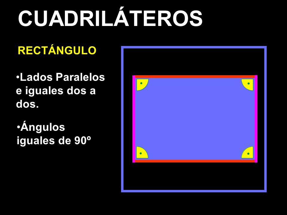 CUADRILÁTEROS RECTÁNGULO Lados Paralelos e iguales dos a dos.