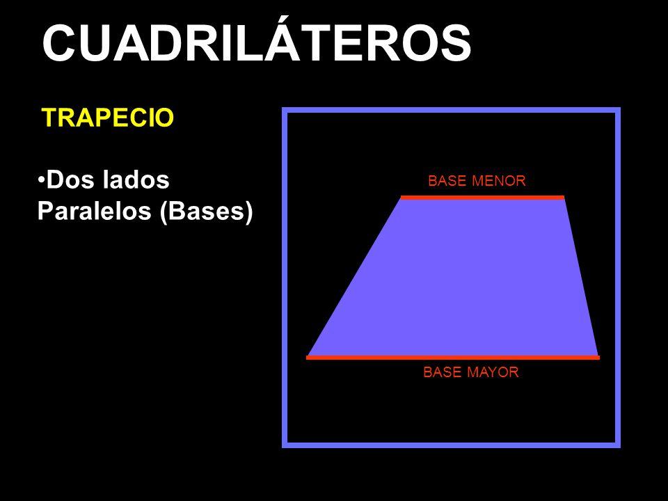 CUADRILÁTEROS TRAPECIO Dos lados Paralelos (Bases) BASE MENOR