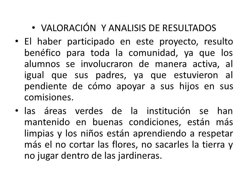 VALORACIÓN Y ANALISIS DE RESULTADOS