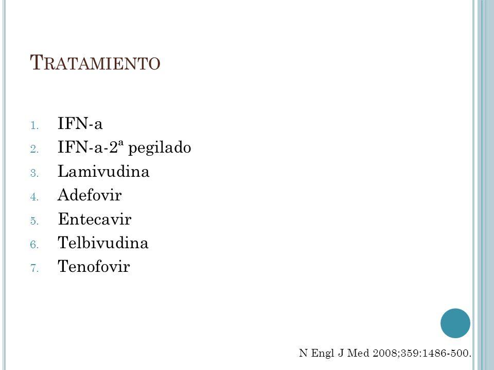 Tratamiento IFN-a IFN-a-2ª pegilado Lamivudina Adefovir Entecavir