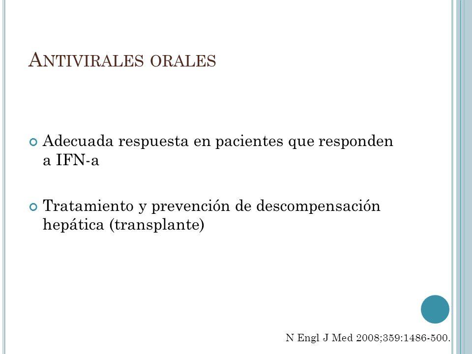 Antivirales oralesAdecuada respuesta en pacientes que responden a IFN-a. Tratamiento y prevención de descompensación hepática (transplante)