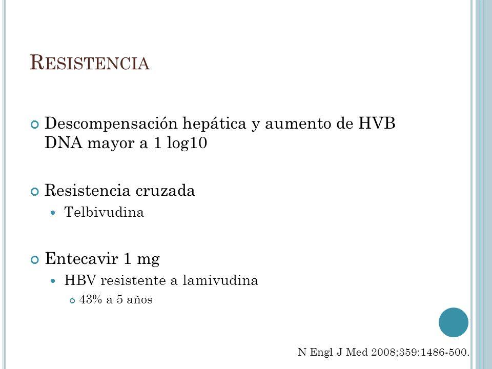 Resistencia Descompensación hepática y aumento de HVB DNA mayor a 1 log10. Resistencia cruzada. Telbivudina.