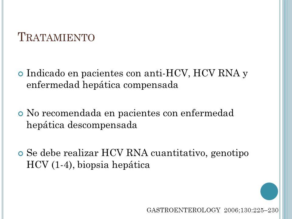 TratamientoIndicado en pacientes con anti-HCV, HCV RNA y enfermedad hepática compensada.
