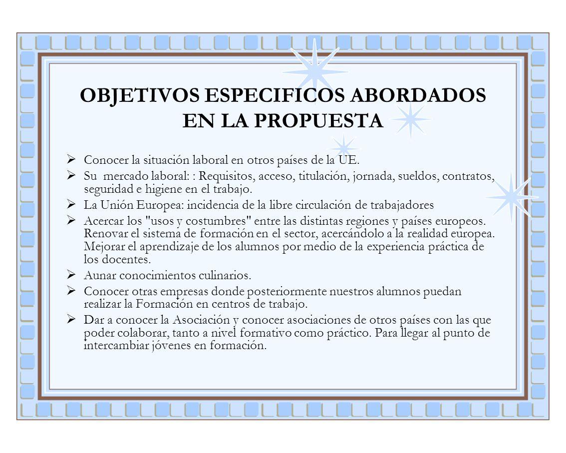 OBJETIVOS ESPECIFICOS ABORDADOS EN LA PROPUESTA
