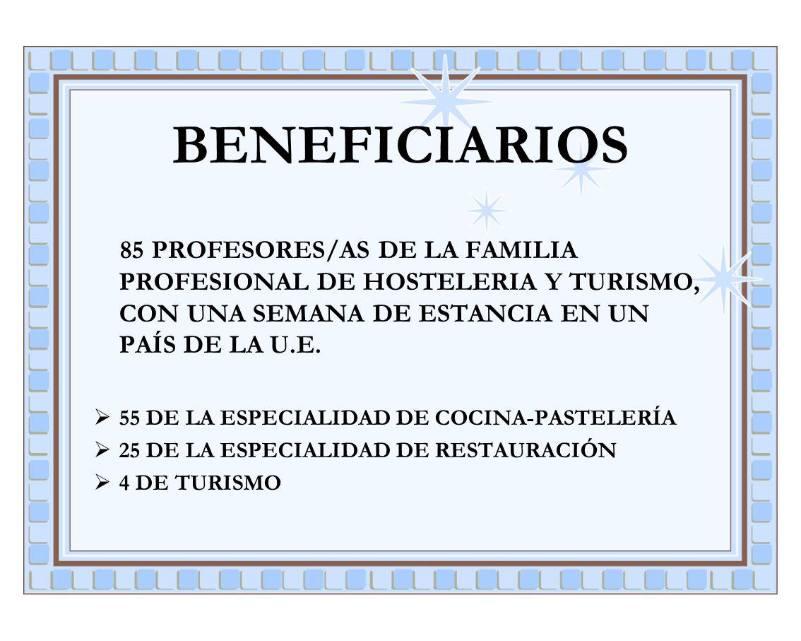 BENEFICIARIOS 85 PROFESORES/AS DE LA FAMILIA PROFESIONAL DE HOSTELERIA Y TURISMO, CON UNA SEMANA DE ESTANCIA EN UN PAÍS DE LA U.E.