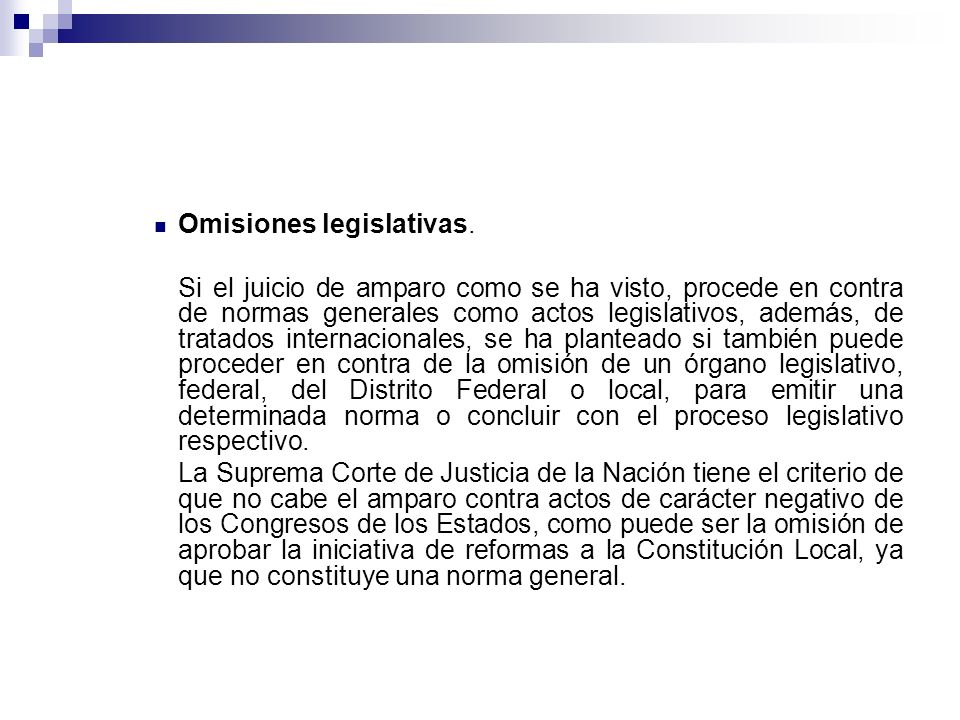 Omisiones legislativas.