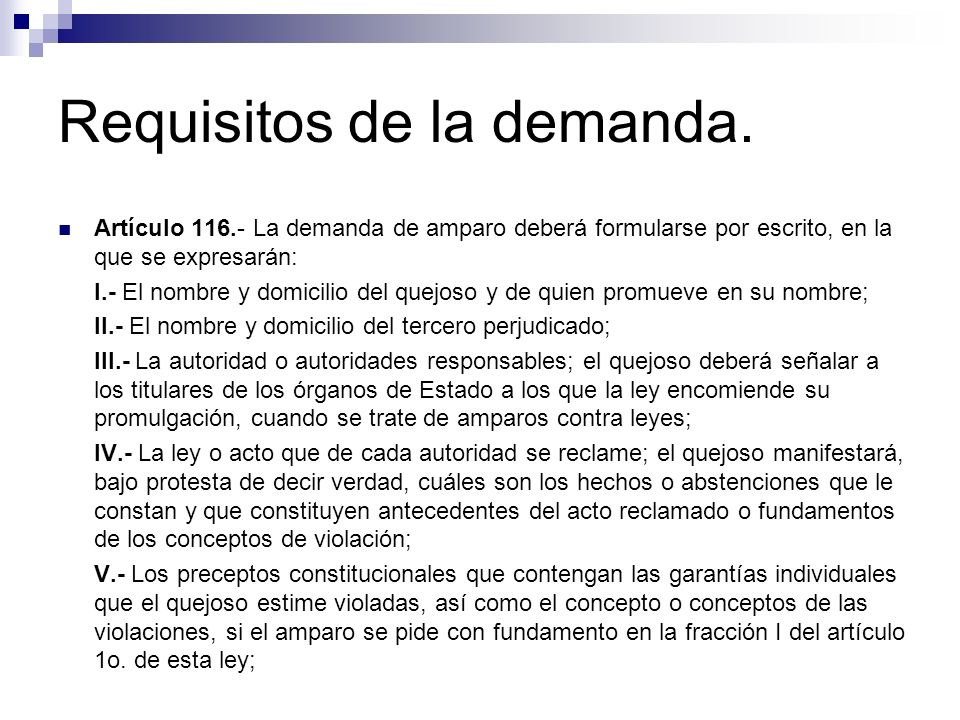 Requisitos de la demanda.