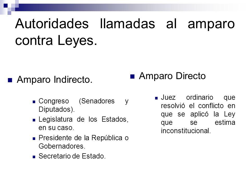 Autoridades llamadas al amparo contra Leyes.