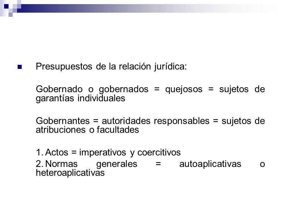 Presupuestos de la relación jurídica: