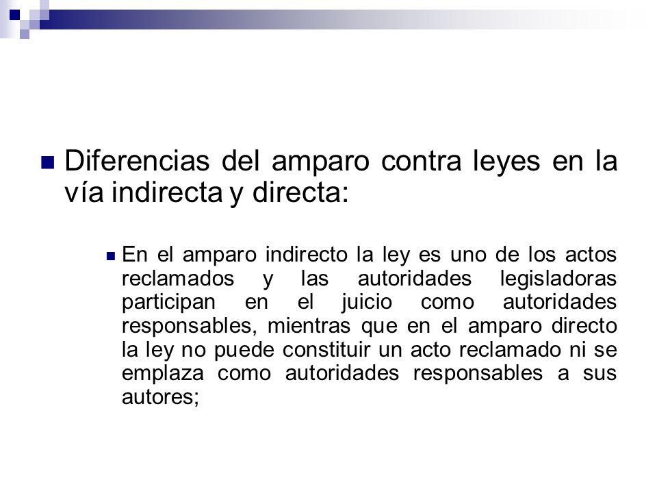 Diferencias del amparo contra leyes en la vía indirecta y directa:
