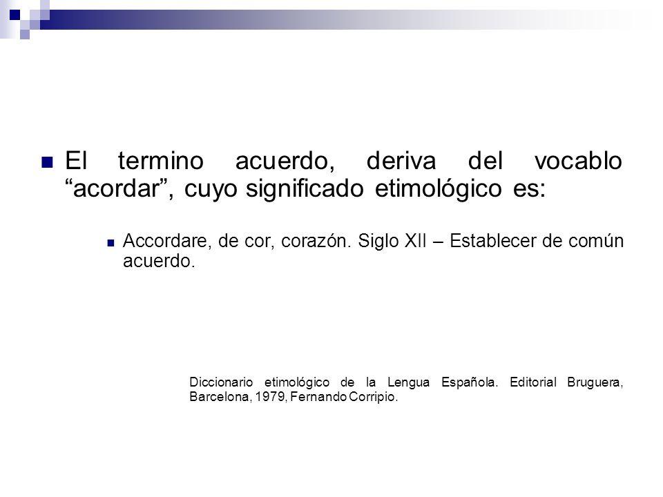 El termino acuerdo, deriva del vocablo acordar , cuyo significado etimológico es: