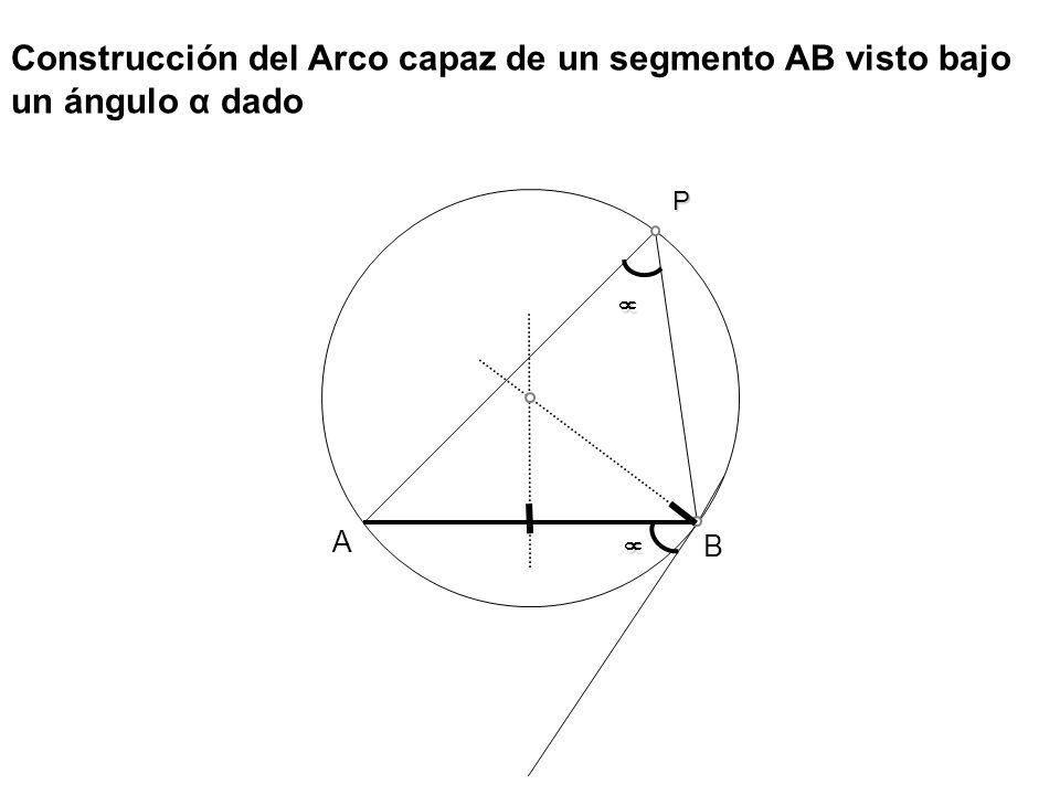 Construcción del Arco capaz de un segmento AB visto bajo un ángulo α dado