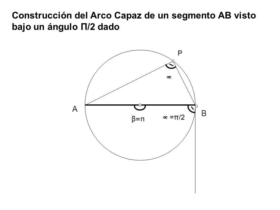 Construcción del Arco Capaz de un segmento AB visto bajo un ángulo Π/2 dado