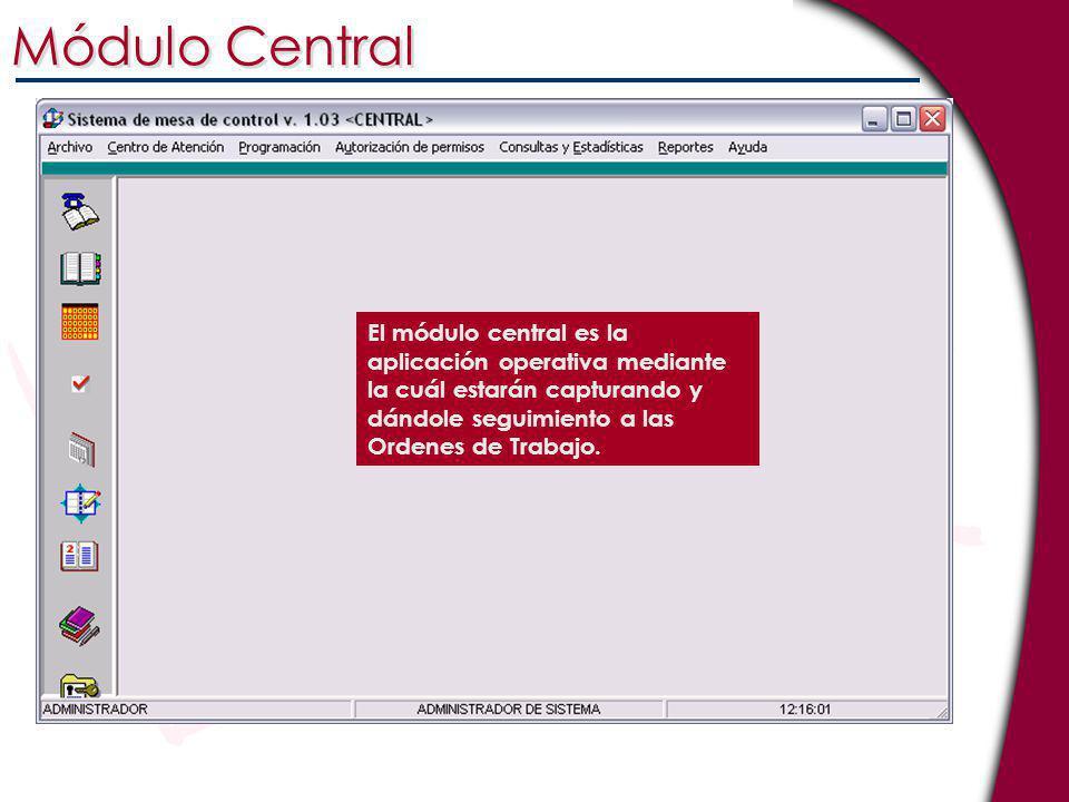Módulo Central El módulo central es la aplicación operativa mediante la cuál estarán capturando y dándole seguimiento a las Ordenes de Trabajo.