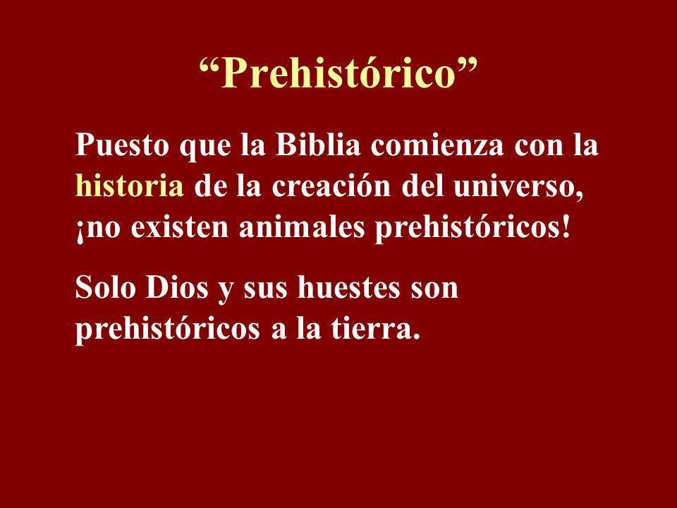 Prehistórico Puesto que la Biblia comienza con la historia de la creación del universo, ¡no existen animales prehistóricos!