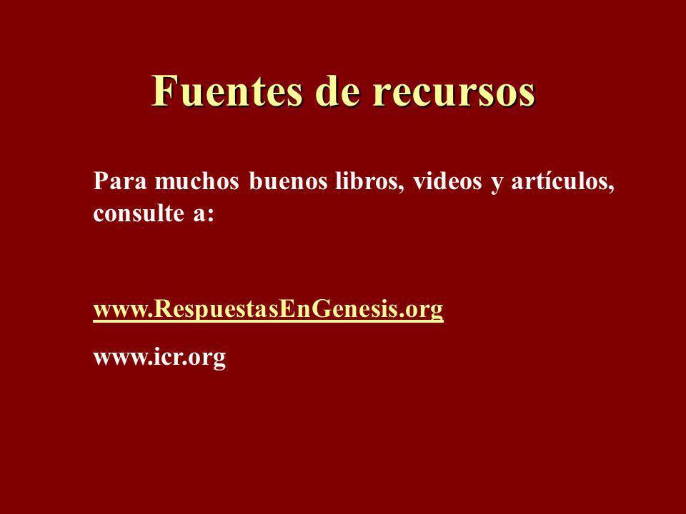 Fuentes de recursos Para muchos buenos libros, videos y artículos, consulte a: www.RespuestasEnGenesis.org.