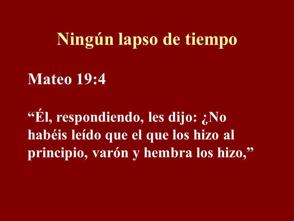 Ningún lapso de tiempo Mateo 19:4