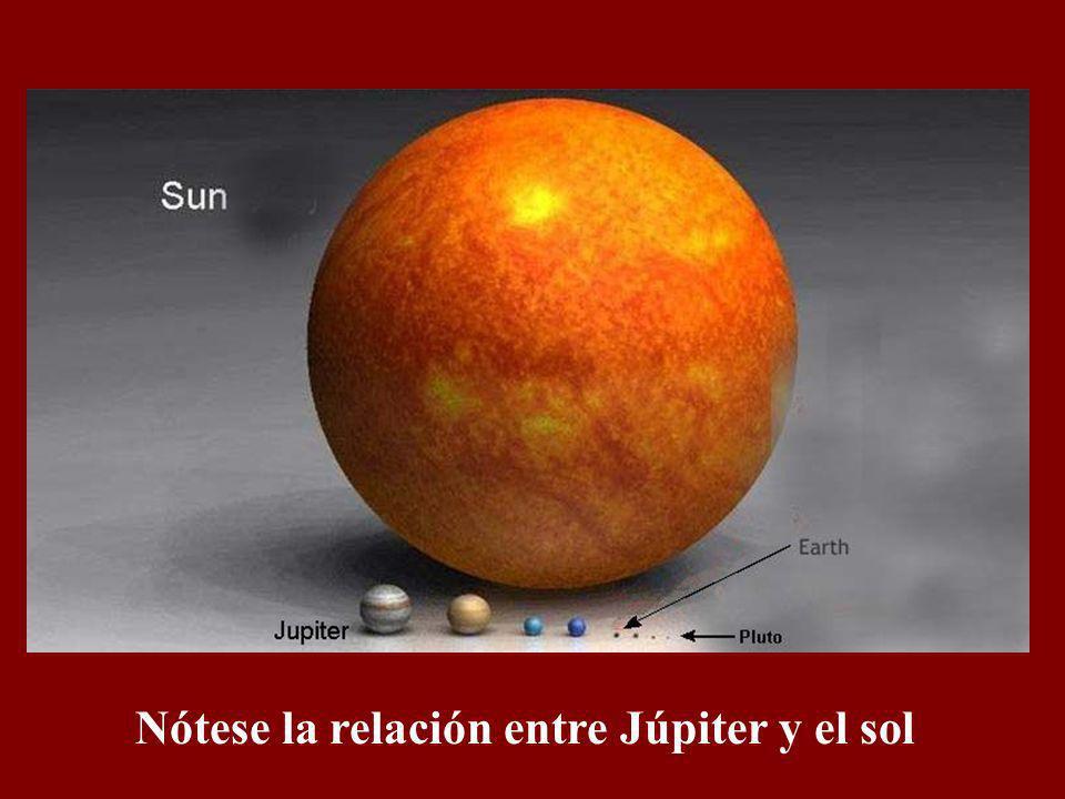 Nótese la relación entre Júpiter y el sol