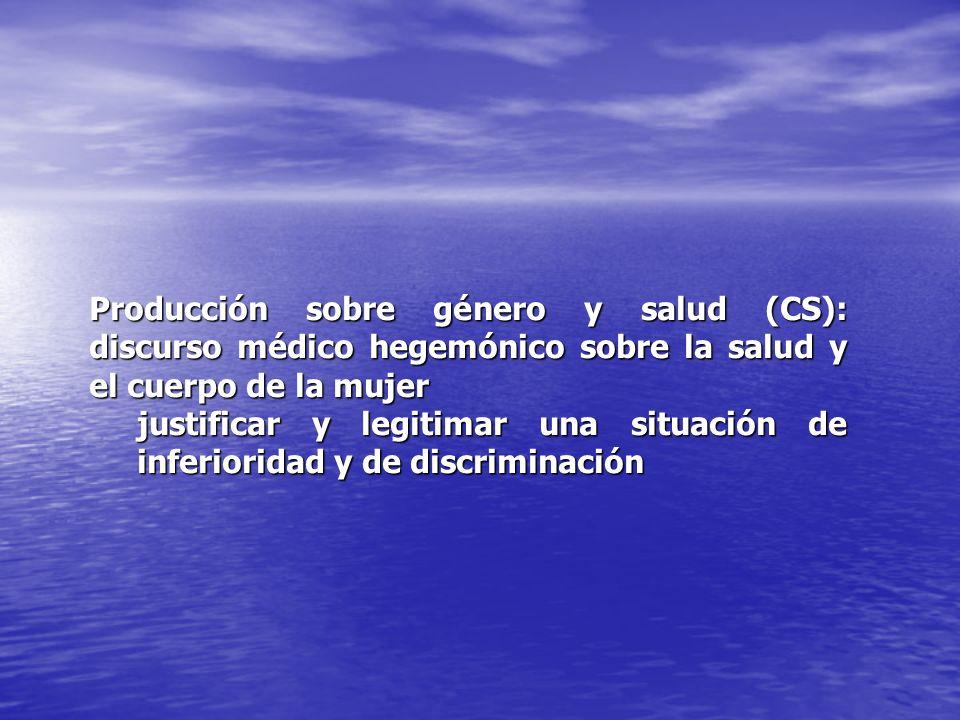 Producción sobre género y salud (CS): discurso médico hegemónico sobre la salud y el cuerpo de la mujer