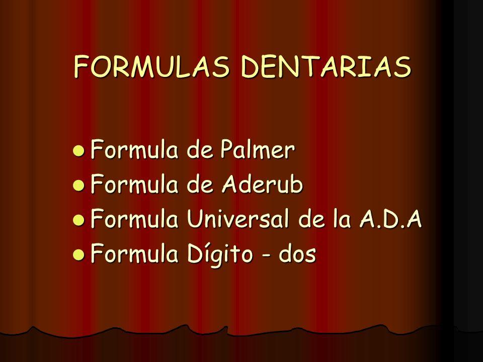 FORMULAS DENTARIAS Formula de Palmer Formula de Aderub